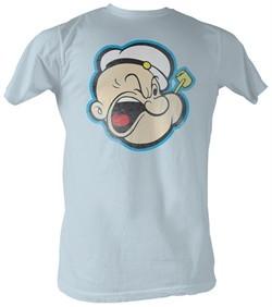 Popeye T-shirt The Sailorman Head 2  Adult Light Blue Tee Shirt