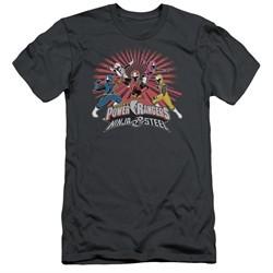 Power Rangers Ninja Steel Slim Fit Shirt Blast Charcoal T-Shirt