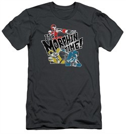 Power Rangers Ninja Steel Slim Fit Shirt It's Morphin Time Charcoal T-Shirt