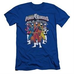 Power Rangers Ninja Steel Slim Fit Shirt Team Royal Blue T-Shirt