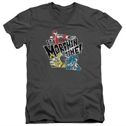 Power Rangers Ninja Steel Slim Fit V-Neck Shirt It's Morphin Time Charcoal T-Shirt