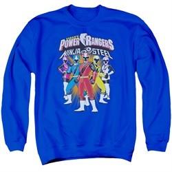 Power Rangers Ninja Steel Sweatshirt Team Adult Royal Blue Sweat Shirt