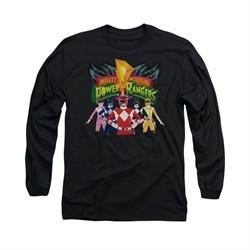 Power Rangers Shirt Characters Long Sleeve Black Tee T-Shirt