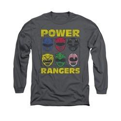 Power Rangers Shirt Heads Long Sleeve Charcoal Tee T-Shirt