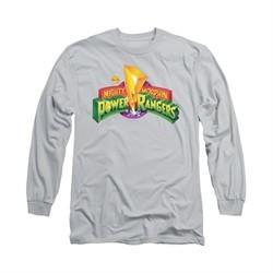 Power Rangers Shirt Logo Long Sleeve Silver Tee T-Shirt