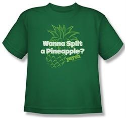 Psych Shirt Kids Pineapple Split Kelly Green Youth Tee T-Shirt