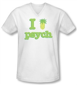 Psych Shirt Slim Fit V Neck I Like Psych White Tee T-Shirt