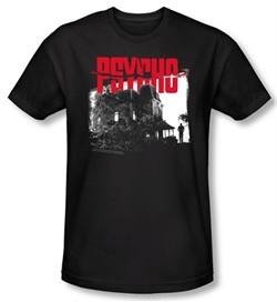 Psycho T-shirt Movie Bates House Adult Black Slim Fit Tee Shirt