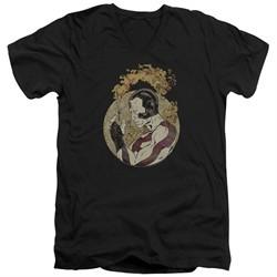 Rai Valiant Comics Slim Fit V-Neck Shirt Japanese Print Black Tee T-Shirt