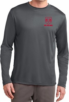 Red Dodge Ram Logo Pocket Print Dry Wicking Long Sleeve