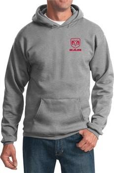 Red Dodge Ram Logo Pocket Print Hoodie