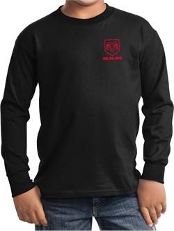 Red Dodge Ram Logo Pocket Print Kids Long Sleeve