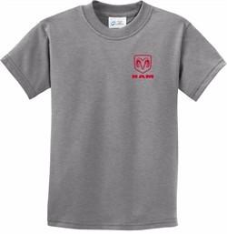 Red Dodge Ram Logo Pocket Print Kids T-shirt