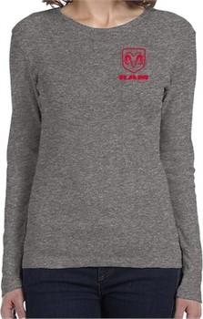 Red Dodge Ram Logo Pocket Print Ladies Long Sleeve