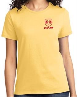 Red Dodge Ram Logo Pocket Print Ladies T-shirt