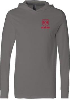 Red Dodge Ram Logo Pocket Print Lightweight Hoodie