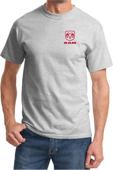 Red Dodge Ram Logo Pocket Print T-shirt