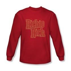 Richie Rich Shirt Name Long Sleeve Red Tee T-Shirt