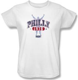 Rocky Ladies T-shirt Philly 1976 Classic White Tee Shirt