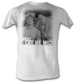 Rocky T-shirt Rock And Mick Cut Me Mick Adult White Tee Shirt
