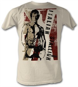 Rocky T-shirt Rocky Italian Stallion Adult Dirty White Tee Shirt