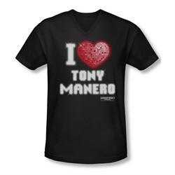 Saturday Night Fever Shirt Slim Fit V Neck I Heart Tony Black Tee T-Shirt