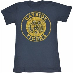 Saved By The Bell Juniors Shirt Bayside Tigers Blue Tee T-Shirt