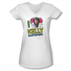 Saved By The Bell Shirt Juniors V Neck Kelly White T-Shirt