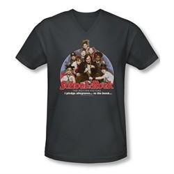 School Of Rock Shirt Slim Fit V Neck I Pledge Allegiance Charcoal Tee T-Shirt