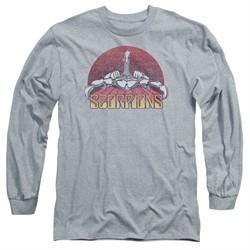 Scorpions Long Sleeve Shirt Distressed Logo Athletic Heather Tee T-Shirt