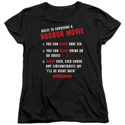 Scream  Womens Shirt Rules To Surviving A Horror Movie Black T-Shirt