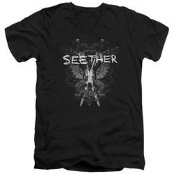 Seether Slim Fit V-Neck Shirt Suffer Black T-Shirt