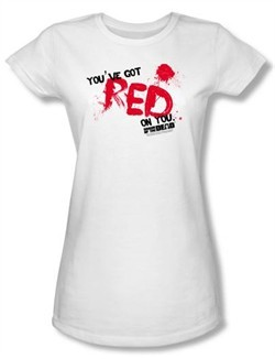 Shaun Of The Dead Juniors T-shirt Movie Red On You White Tee Shirt