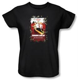 Shaun Of The Dead Ladies T-shirt Movie Poster Black Tee Shirt