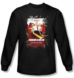 Shaun Of The Dead T-shirt Movie Poster Adult Black Long Sleeve Shirt