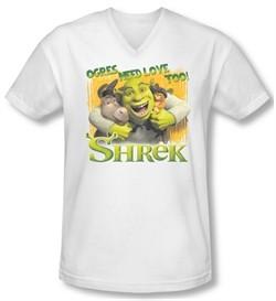 Shrek Shirt Slim Fit V Neck Ogres Need Love White Tee T-Shirt