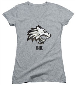 Six A&E TV Show Juniors V Neck Shirt Wolf Athletic Heather T-Shirt