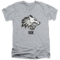 Six A&E TV Show Slim Fit V-Neck Shirt Wolf Athletic Heather T-Shirt