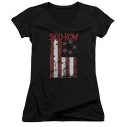 Skid Row Juniors V Neck Shirt Flagged Black T-Shirt