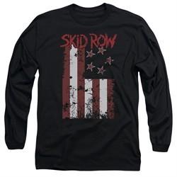 Skid Row Long Sleeve Shirt Flagged Black Tee T-Shirt