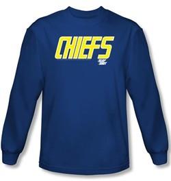 Slap Shot T-shirt Hockey Chiefs Logo Royal Blue Long Sleeve Shirt