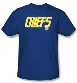 Slap Shot T-shirt Hockey Movie Chiefs Logo Adult Royal Blue Tee Shirt