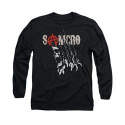 Sons Of Anarchy Shirt Rip Through Long Sleeve Black Tee T-Shirt