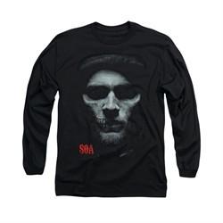 Sons Of Anarchy Shirt Skull Face Long Sleeve Black Tee T-Shirt