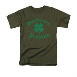 St. Patrick's Day Shirt Hardcore Ireland Adult Military Green Tee T-Shirt