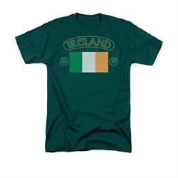 St. Patrick's Day Shirt Ireland Flag Adult Hunter Green Tee T-Shirt