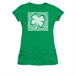 St. Patrick's Day Shirt Juniors Celtic Clover Kelly Green Tee T-Shirt