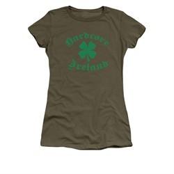 St. Patrick's Day Shirt Juniors Hardcore Ireland Military Green Tee T-Shirt
