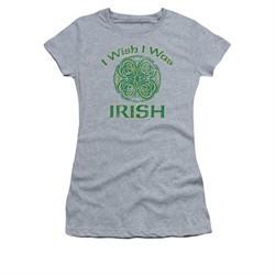 St. Patrick's Day Shirt Juniors Irish Wish Athletic Heather Tee T-Shirt