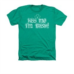 St. Patrick's Day Shirt Kiss Me I'm Irish Adult Heather Green Tee T-Shirt